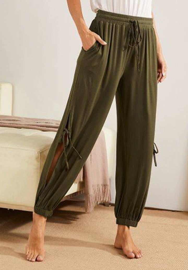 Yırtmaç Detay Paçası Lastikli Pantolon (Haki)