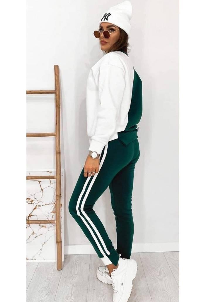 Beyaz Garnili Şeritli Eşofman Takım (Yeşil) - 1
