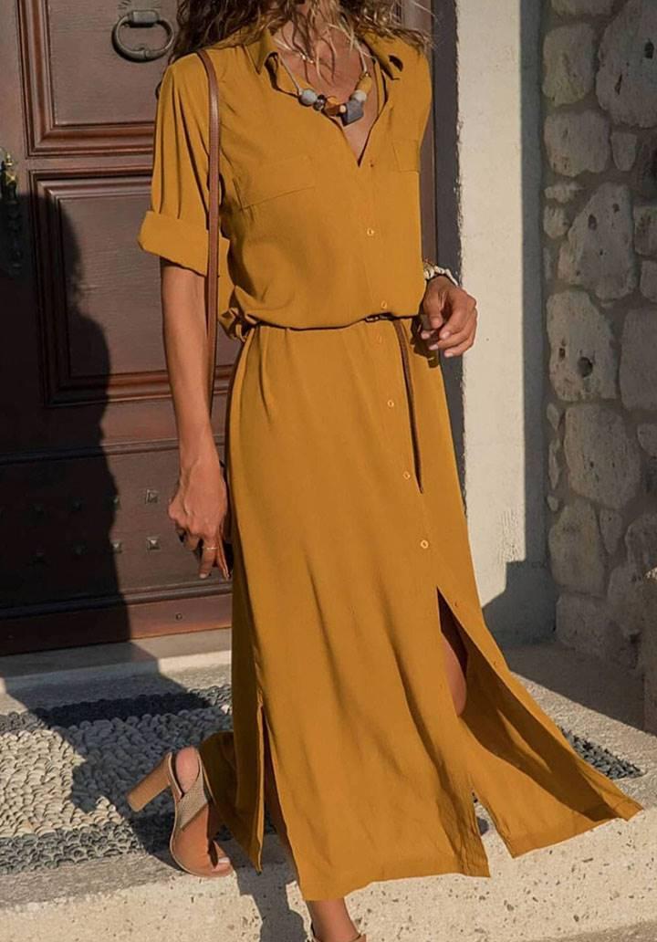 Yanları yırtmaçlı dokuma viscon gömlek elbise(hardal)