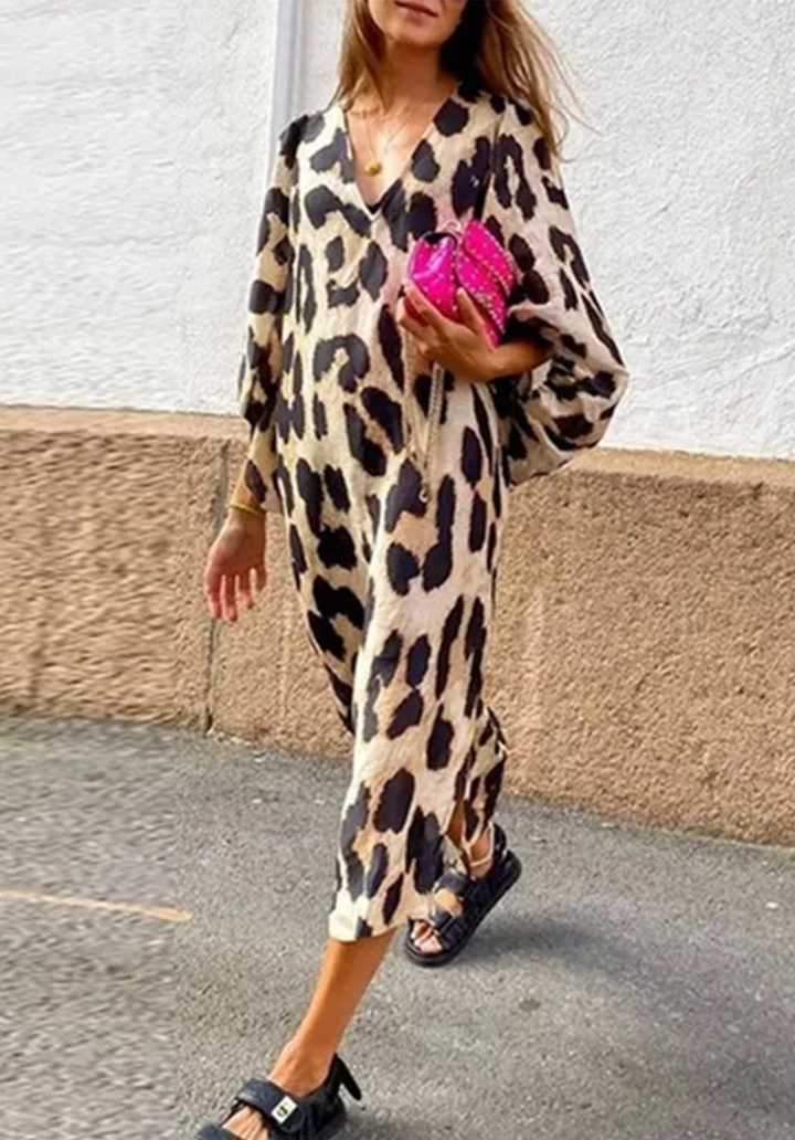 V Yaka Leopar Desen Salaş Elbise