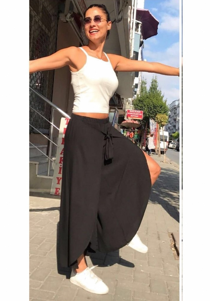 Yırtmaçlı Şalvar Pantolon (Siyah)