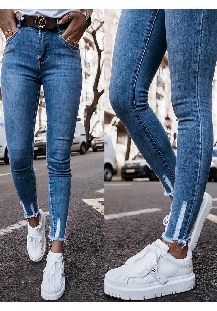 Dar Paça Yüksek Bel Skinny Jean Pantolon
