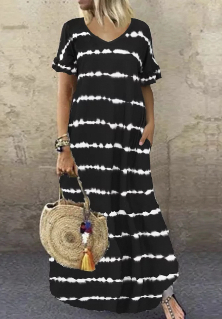V Yaka Maxı Boy Digital Baskı Batik Elbise (Siyah)
