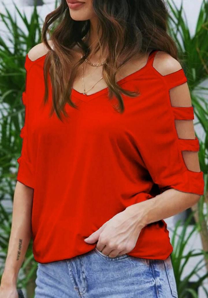 V Yaka Kol Bantlı Turlu Viscon Bluz (Kırmızı)