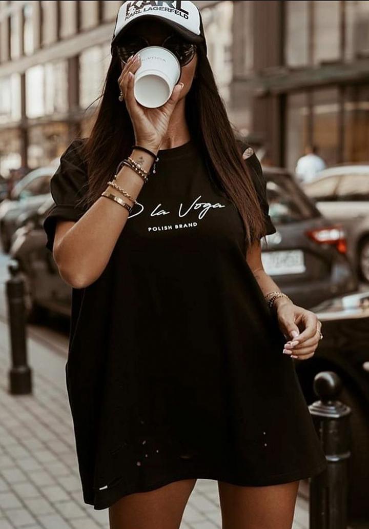 Lazer Kesim Baskılı Spor Elbise (Siyah)
