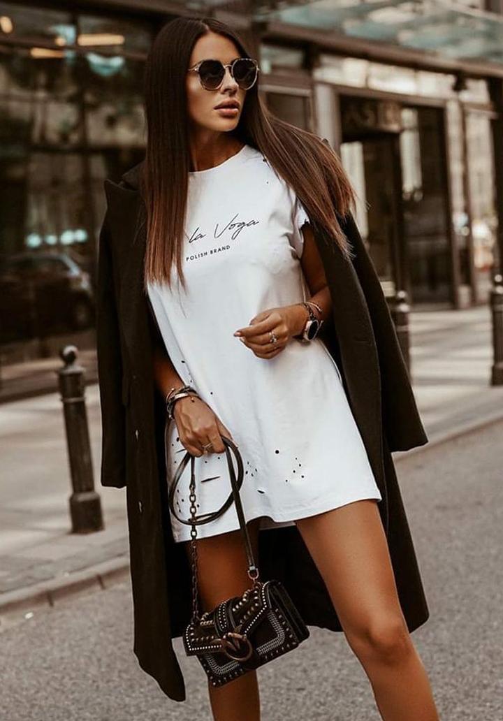 Lazer Kesim Baskılı Spor Elbise (Ekru)