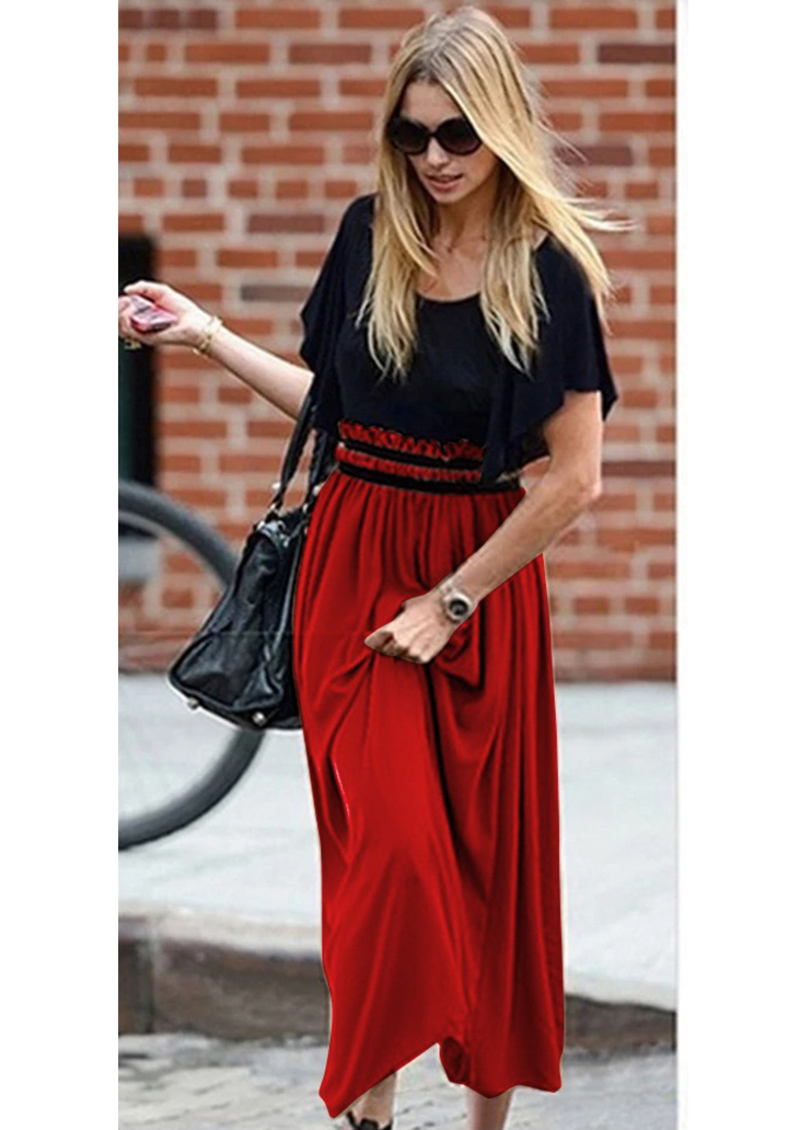 Beli Gipeli Şifon Etekli Elbise (Kırmızı)