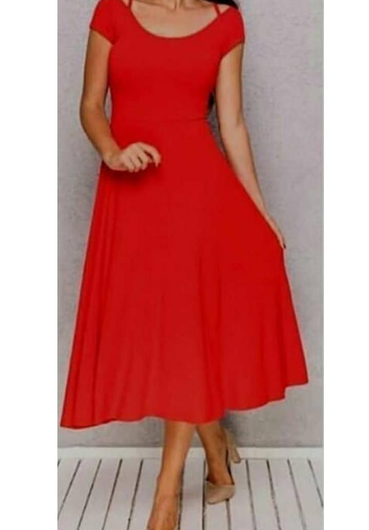 Sırt Çapraz Midi Boy Viscon Elbise (Kırmızı)
