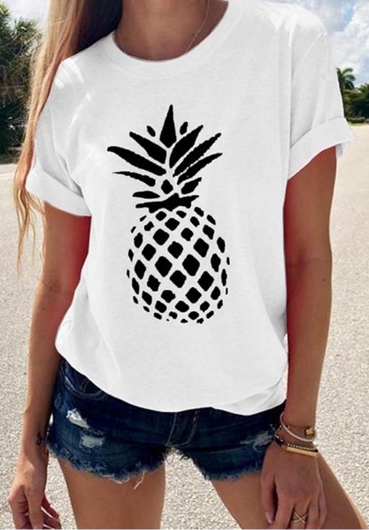 Ananas Baskılı Basic Tshırt (Ekru)
