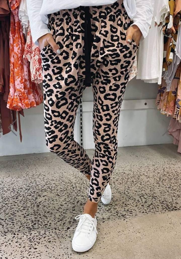 Yeni Sezon Leopar Desen Pantolon(Vizon)