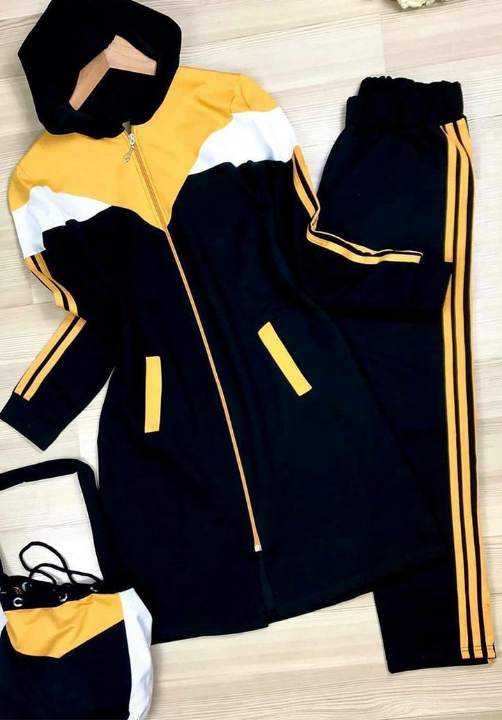 Kapşonlu Şerit Detay Tunik Pantolon İkili Takım (Sarı)