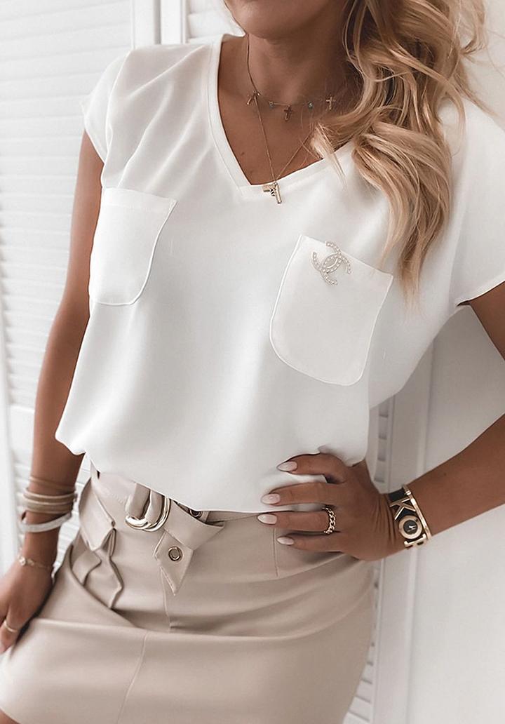 Çift Cepli Channel Rozet Basic Bluz (Beyaz)