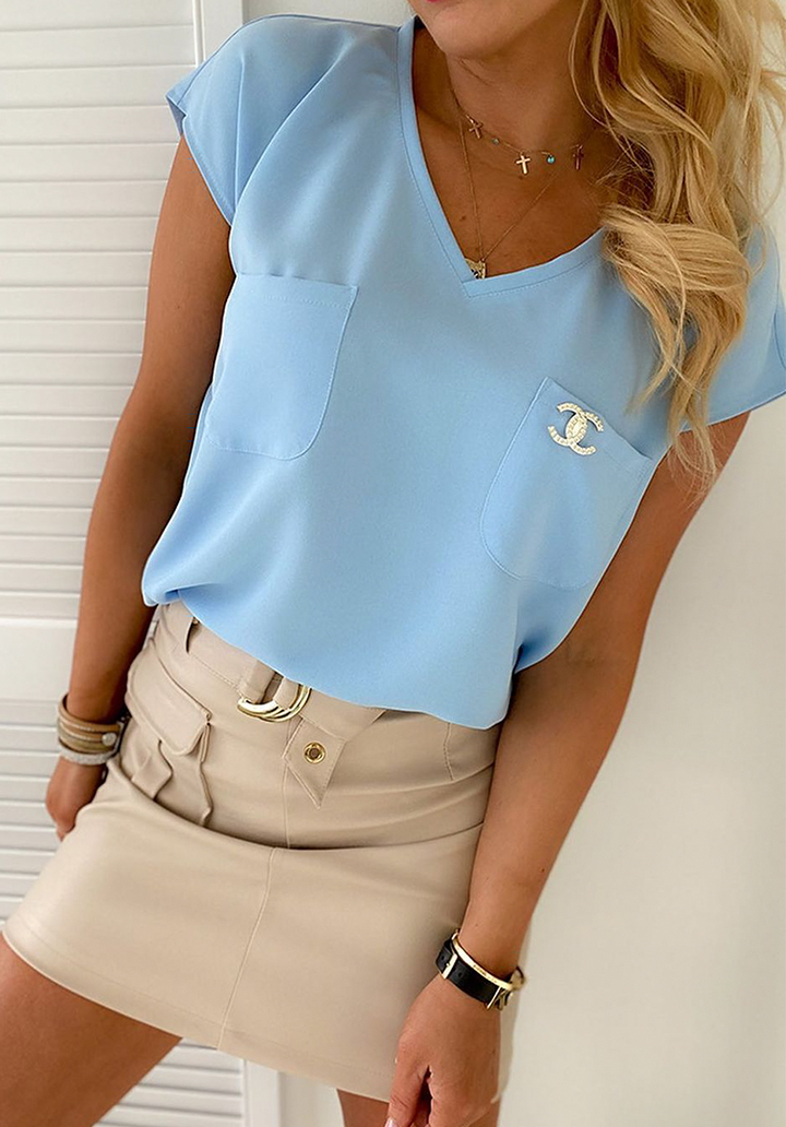 Çift Cepli Channel Rozet Basic Bluz (Mavi)