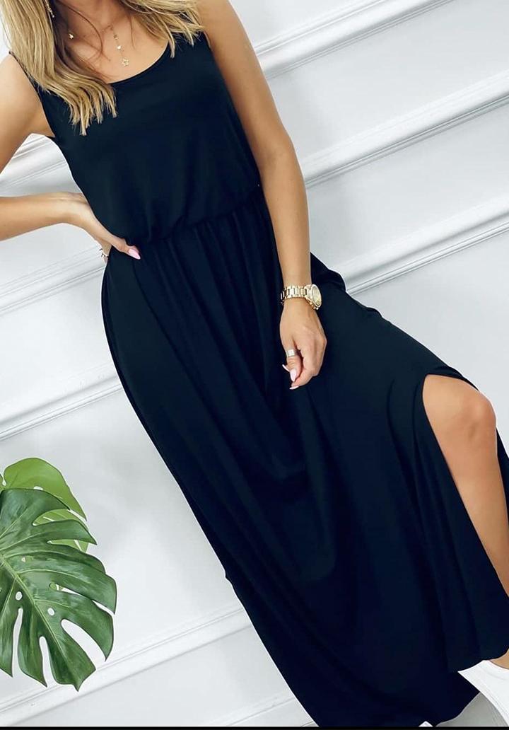 Beli Lastikli Maxı Boy Yırtmaç Detay Elbise (Lacivert)