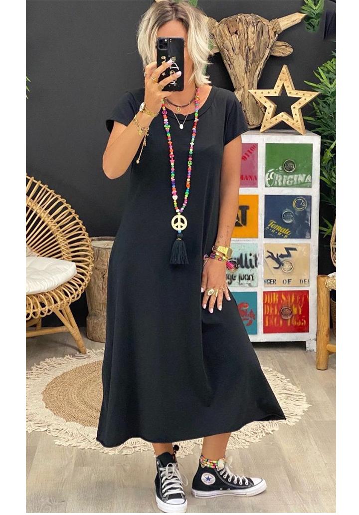 Sırt V Yaka Yeni Sezon Basic Elbise (Siyah)