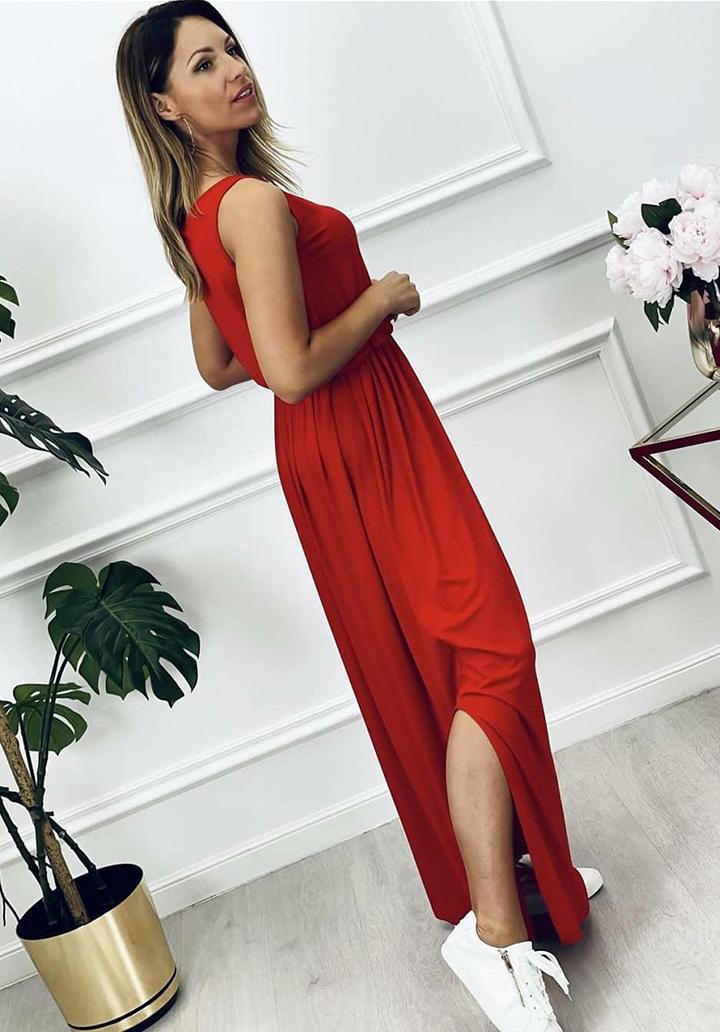 Beli Lastikli Maxı Boy Yırtmaç Detay Elbise (Kırmızı)