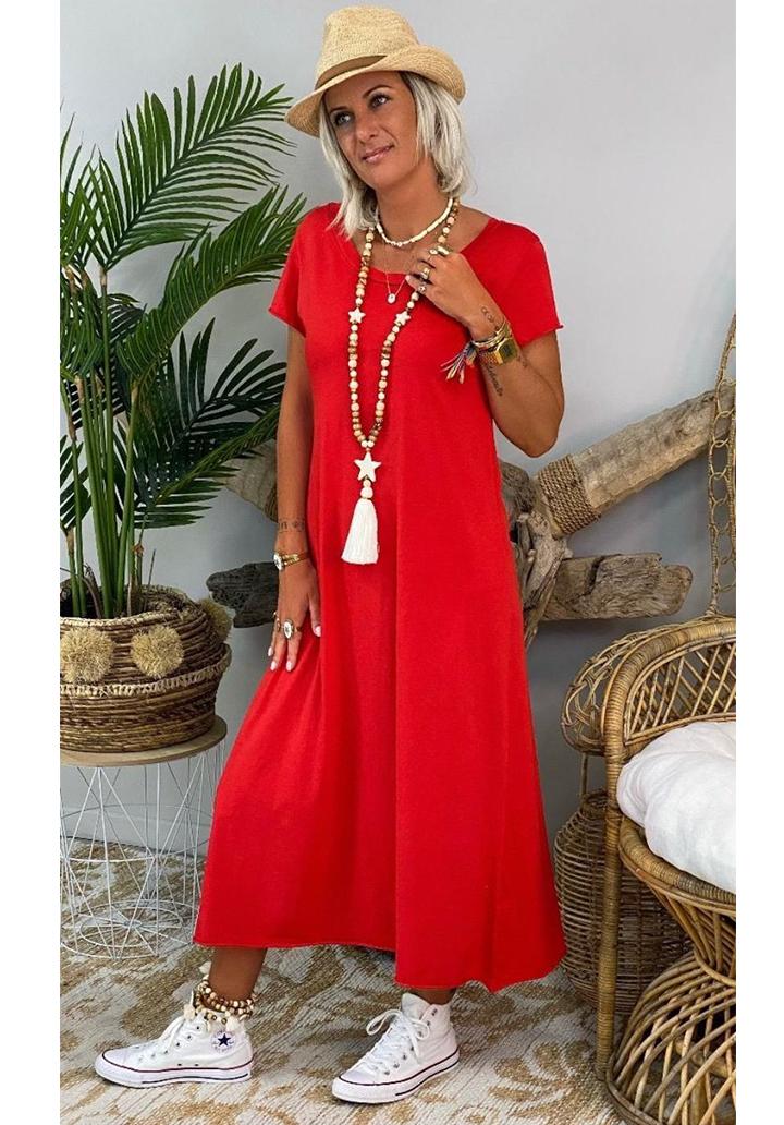 Sırt V Yaka Yeni Sezon Basic Elbise (Kırmızı)