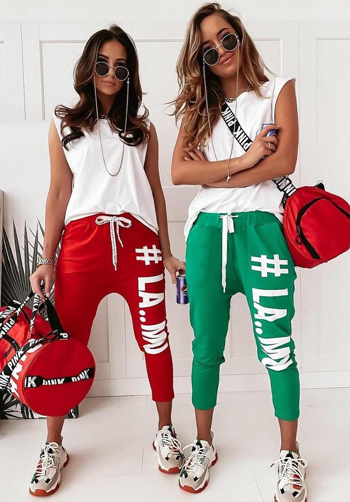 Baskılı Pantolon Bluz Spor Takım (Kırmızı)