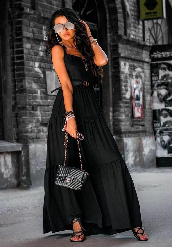 İp Askılı Maxı Boy Salaş Elbise (Siyah)
