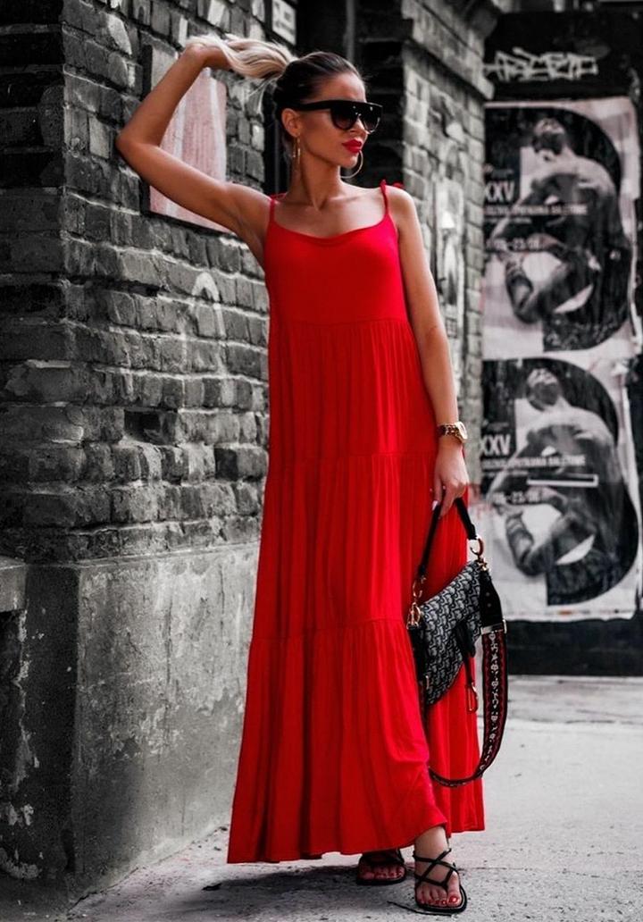 İp Askılı Maxı Boy Salaş Elbise (Kırmızı)