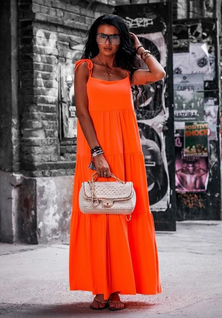 İp Askılı Maxı Boy Salaş Elbise (Orange)
