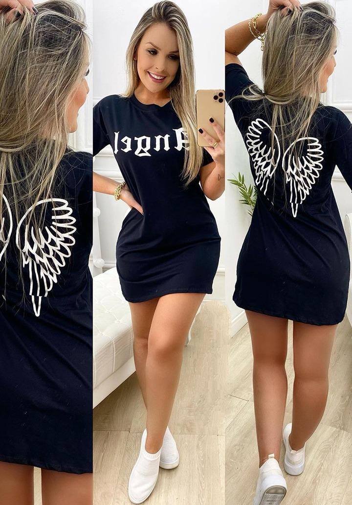 Angel Baskılı Mini Basic Elbise
