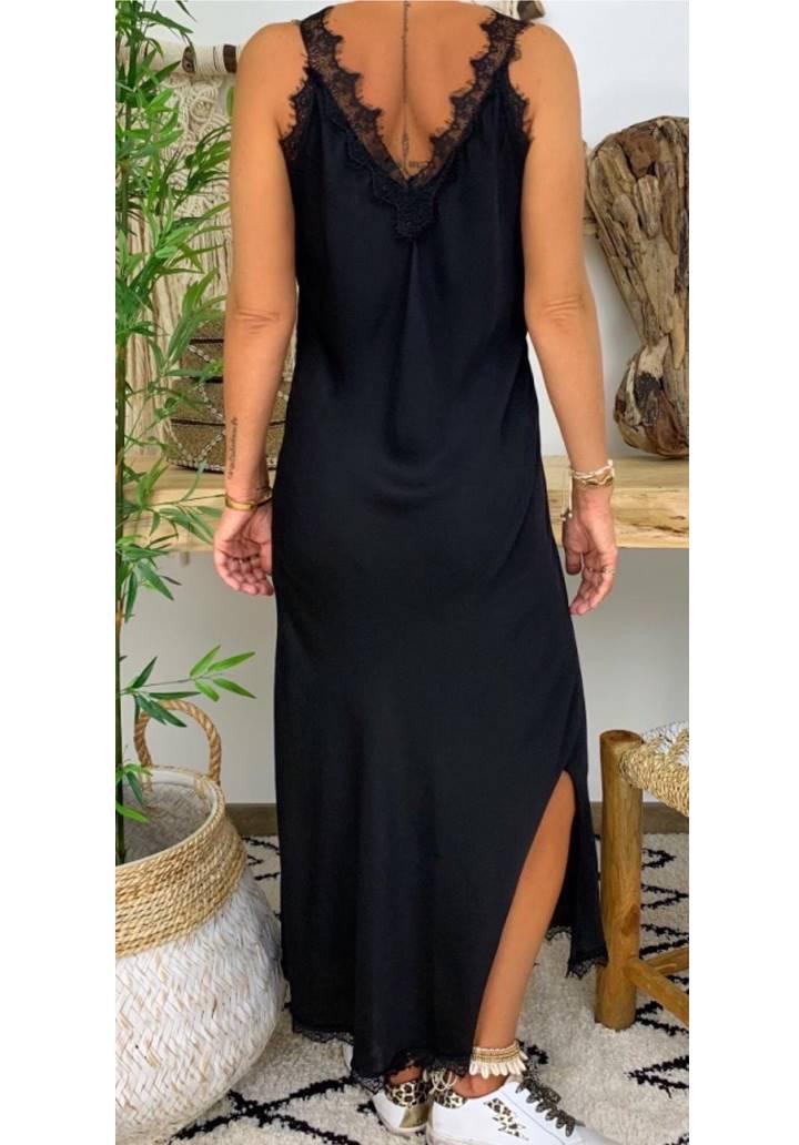 Ön arka V yaka gupur detay yırtmaçlı elbise