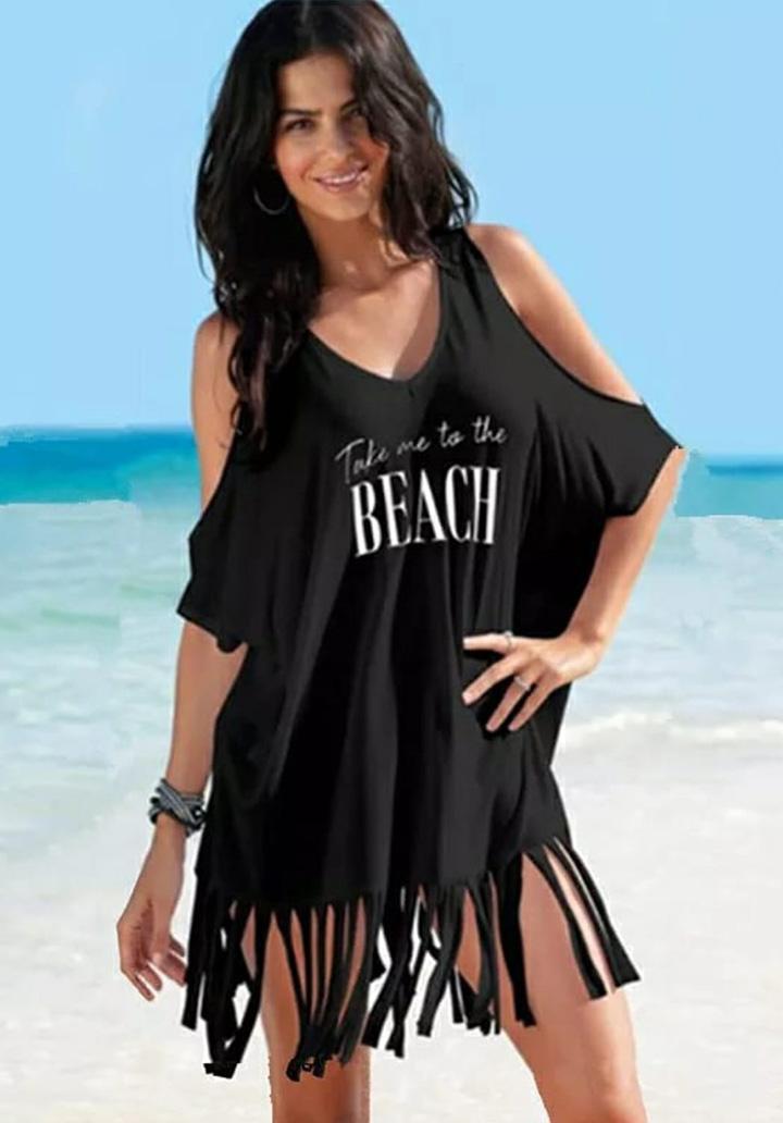 Omuz Dekolteli Saçaklı Tunik-Elbise (Siyah) - 1