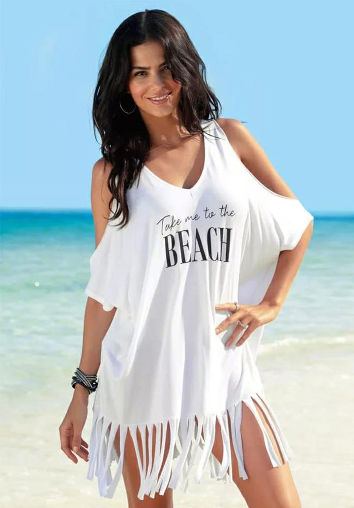 Omuz Dekolteli Saçaklı Tunik-Elbise (Beyaz) - 1