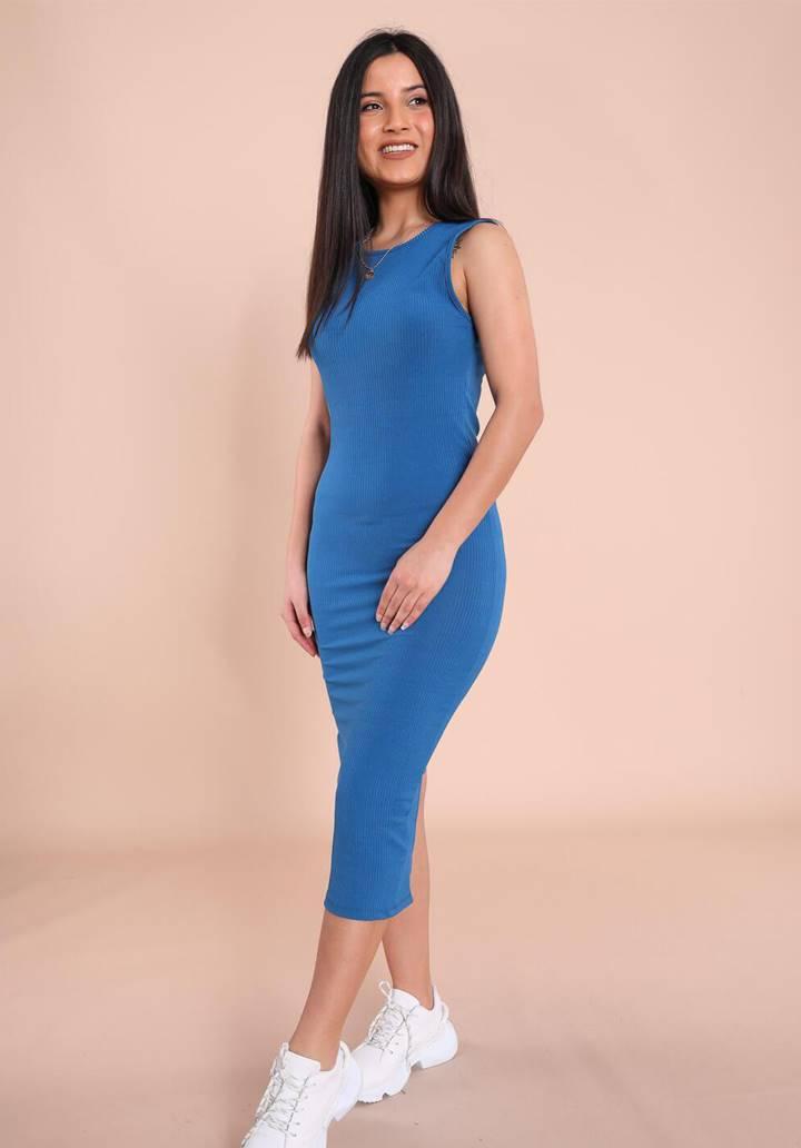 Halter yaka yırtmaçlı basic elbise(mavi)