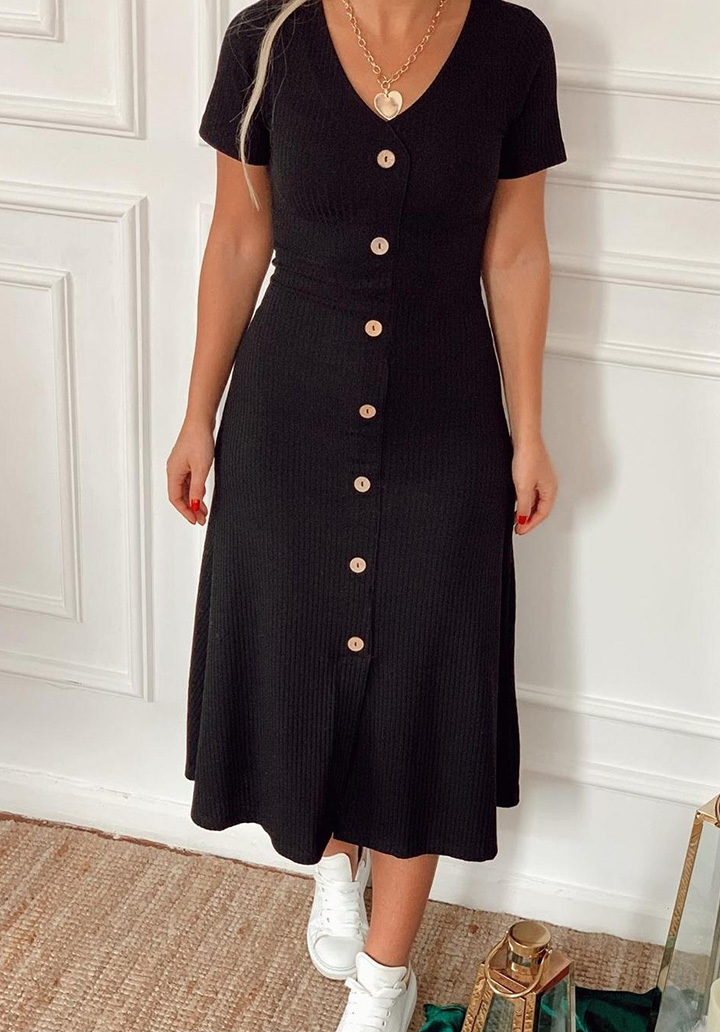 V Yaka Midi Boy Kaşkorse Kumaş Elbise (Siyah)