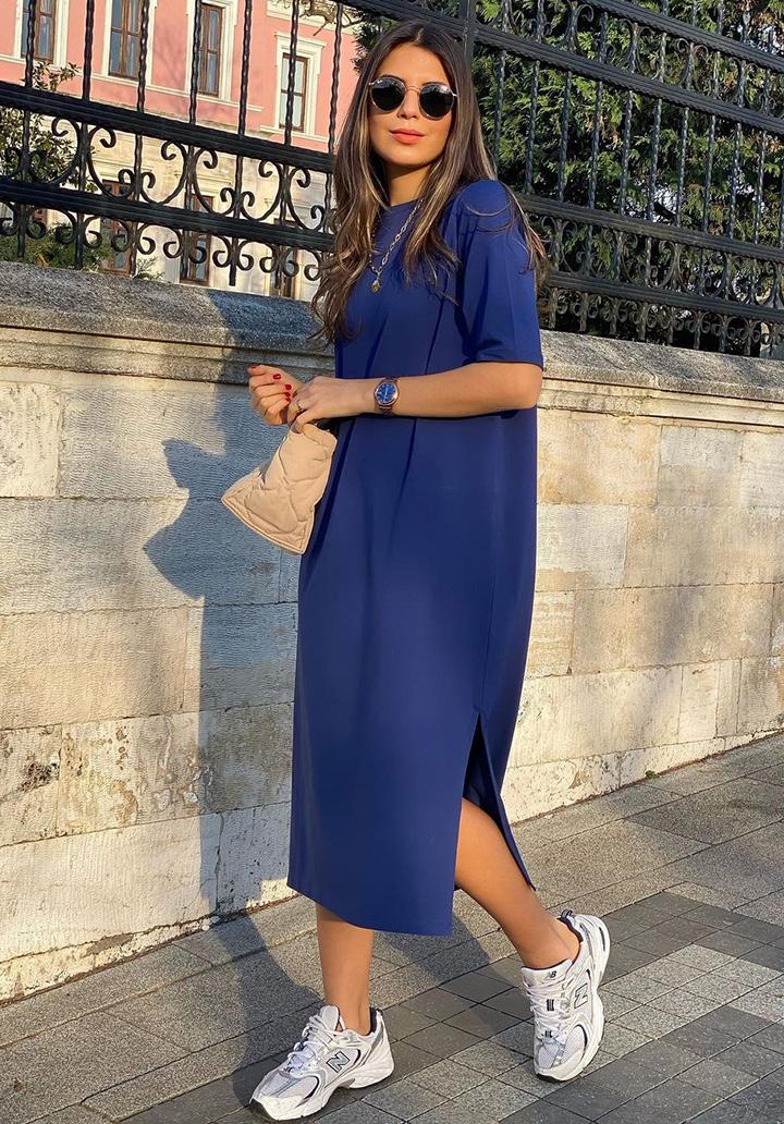Yırtmaç Detay Basic Elbise (Sax)