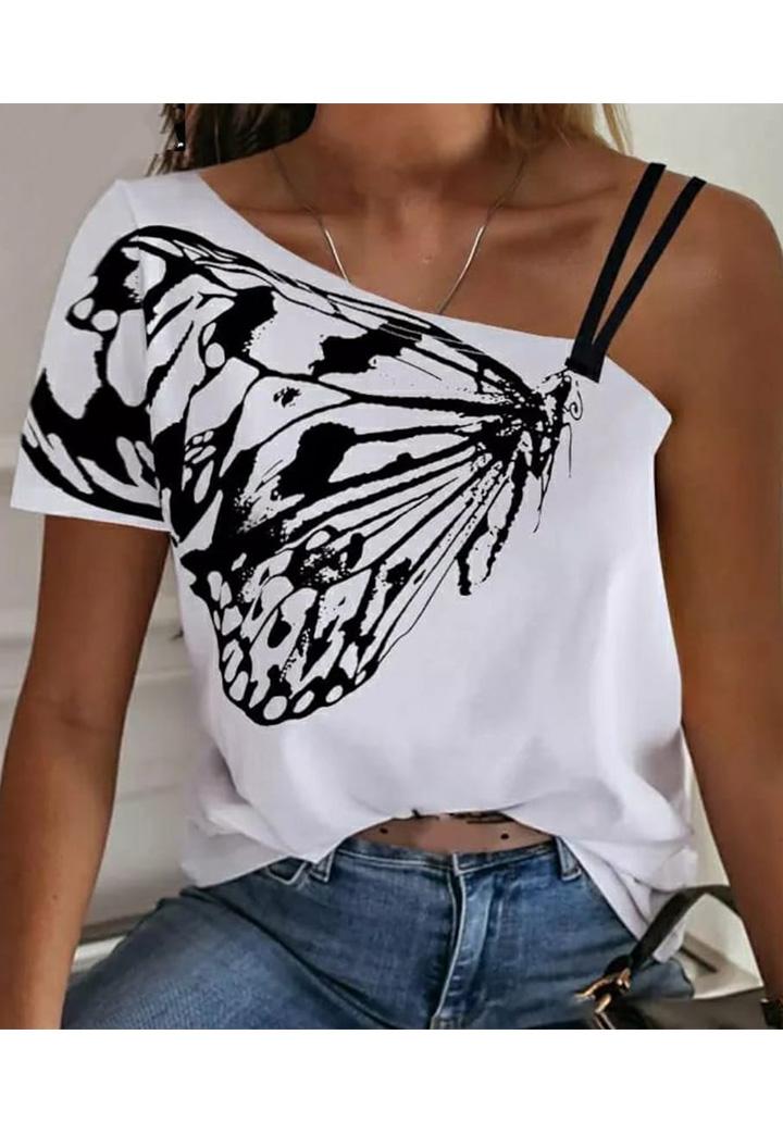 Kelebek Desen Omuz Dekolteli Tshırt (Beyaz)