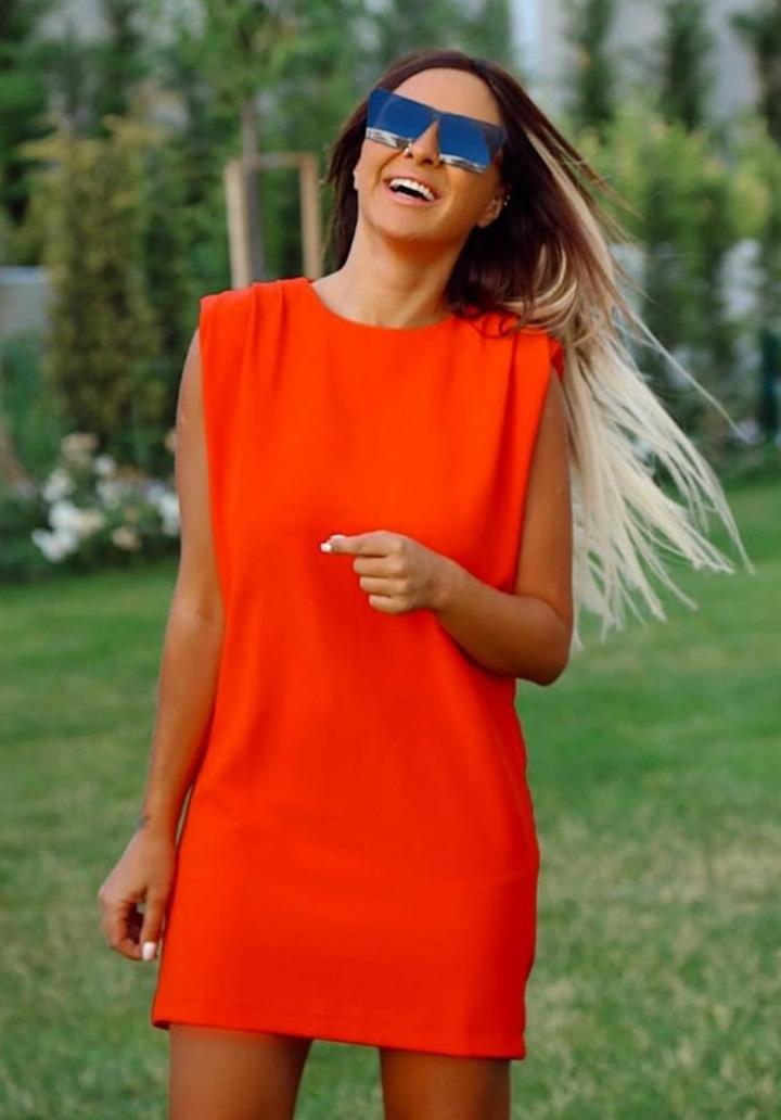 Vatkalı Sandy Mini Elbise (Nar Çiçeği)