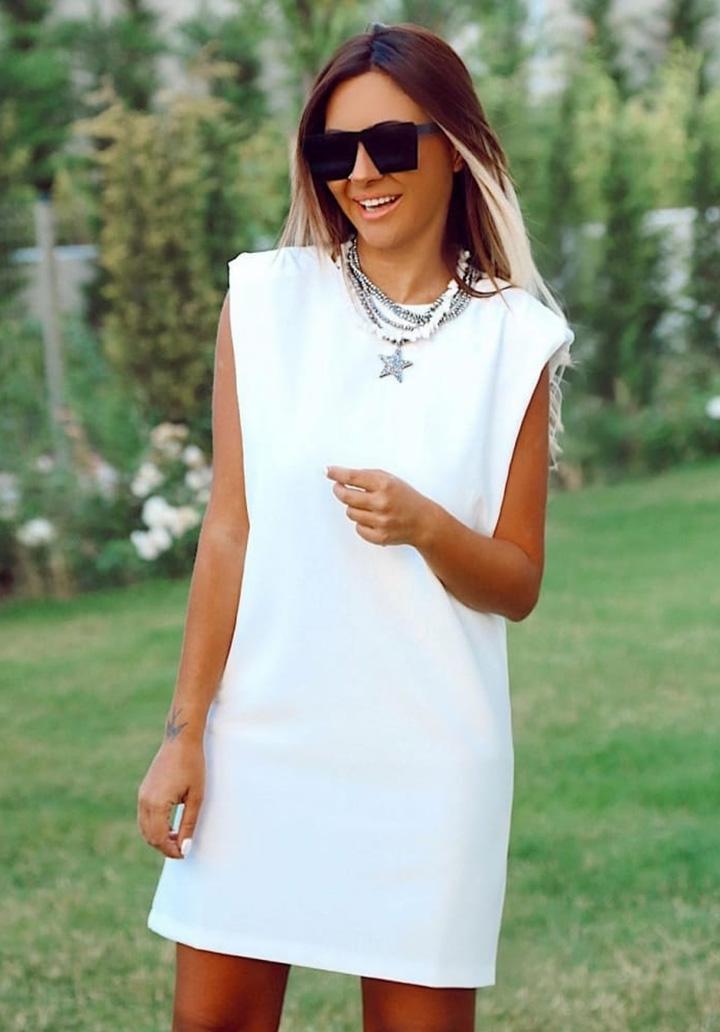 Vatkalı Sandy Mini Elbise (Beyaz)