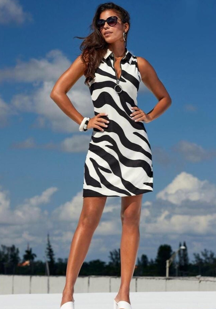 Yaka Fermuar Zebra Desen Elbise