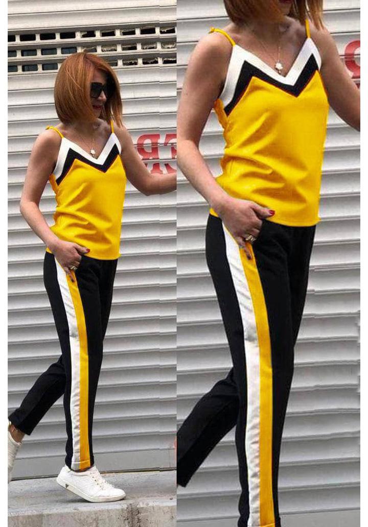 İp Askılı Şeritli İki İplik Spor Takım (Sarı)