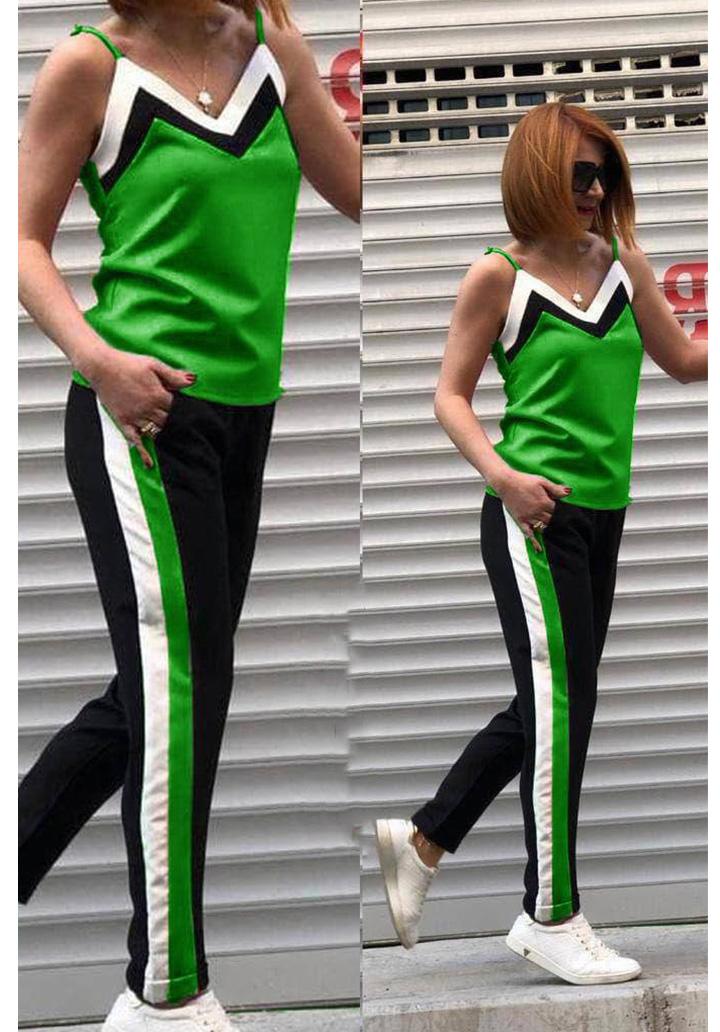İp Askılı Şeritli İki İplik Spor Takım (Yeşil)