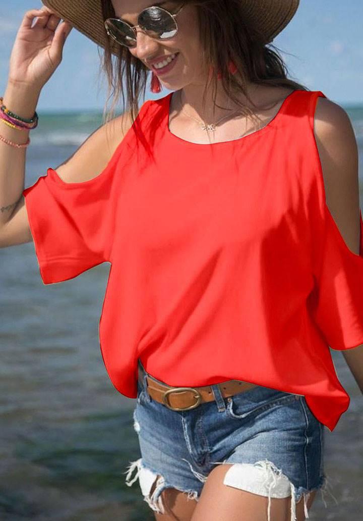 Omuz dekolteli basic bluz(kırmızı)