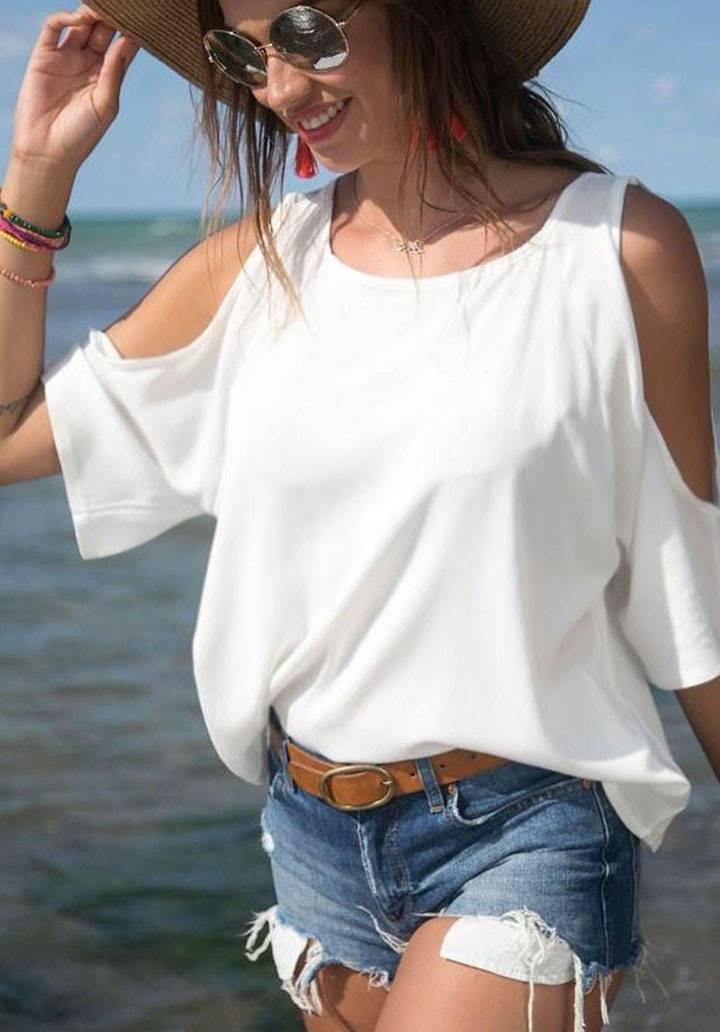 Omuz dekolteli basic bluz