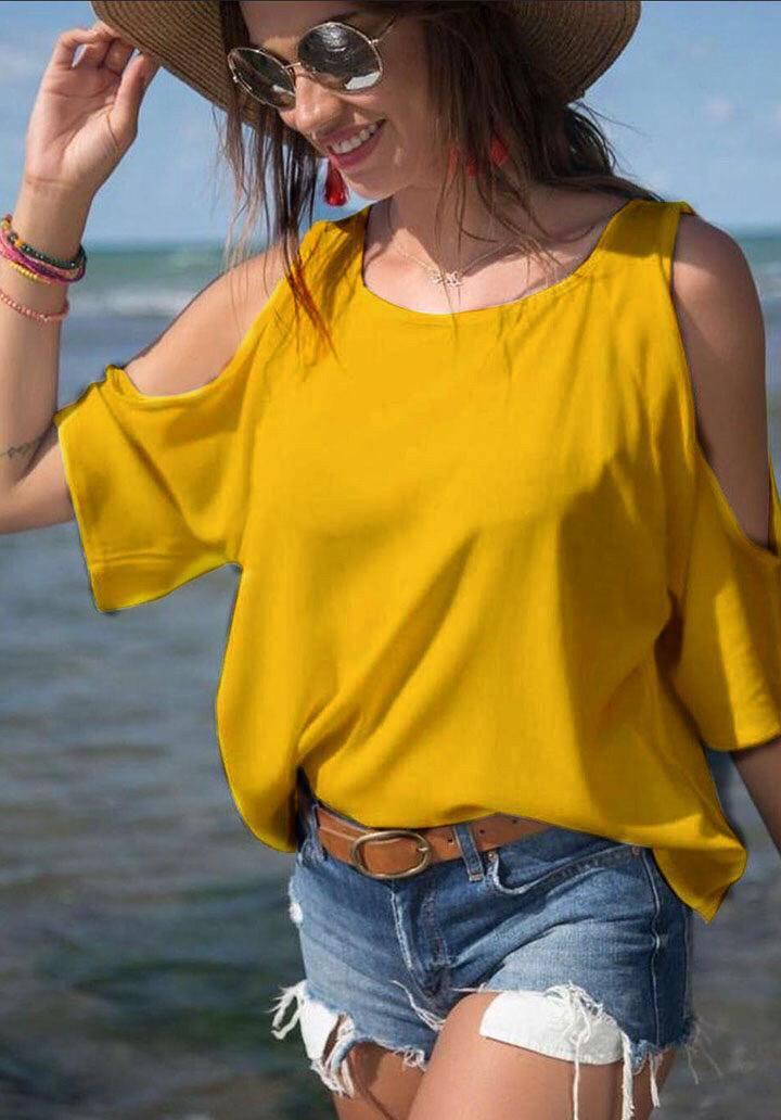 Omuz dekolteli basic bluz(hardal)