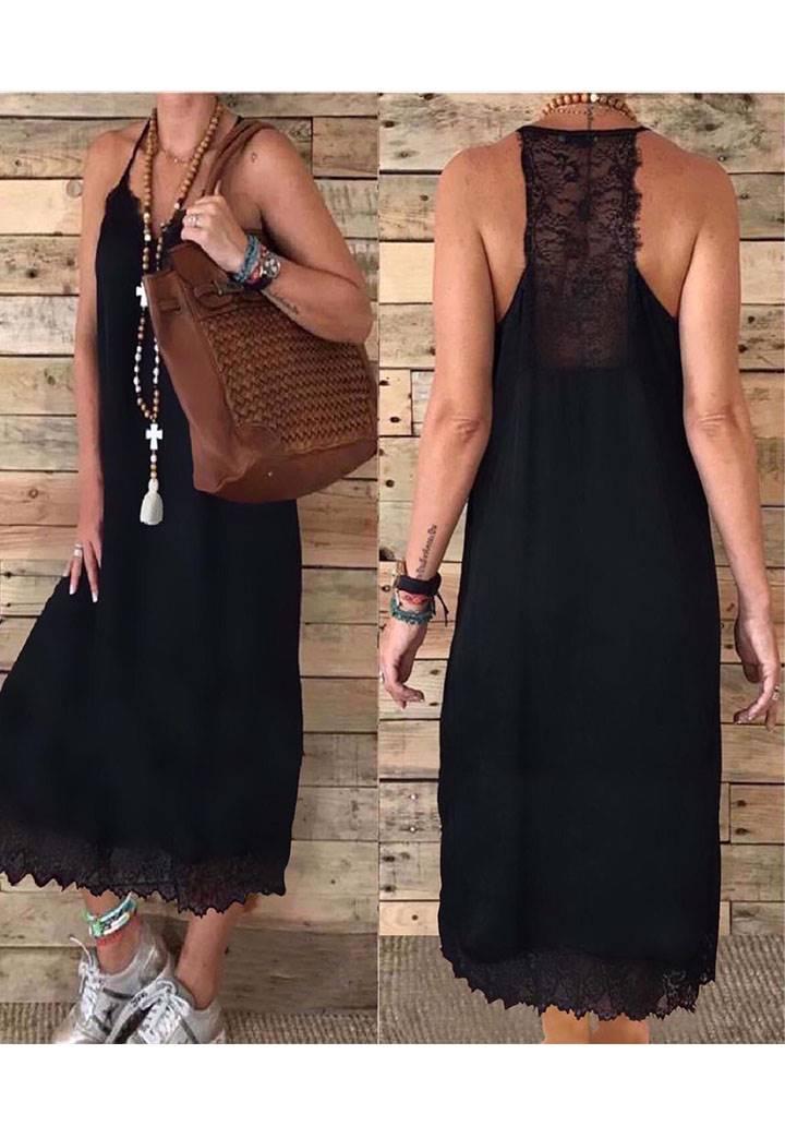 İp askılı sırt etek ucu dantel detay elbise