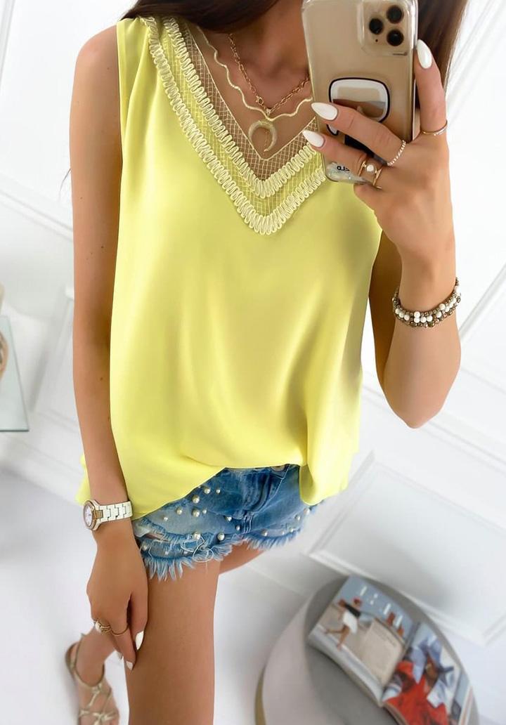 Kolsuz Yaka Tül Detay Crep Bluz (Sarı)
