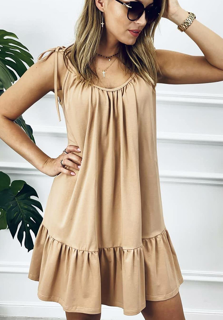 Eteği Volanlı Basic Spor Elbise (Vizon)