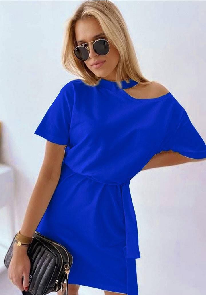 Tek omuz dekolteli tasarım elbise(mavi)