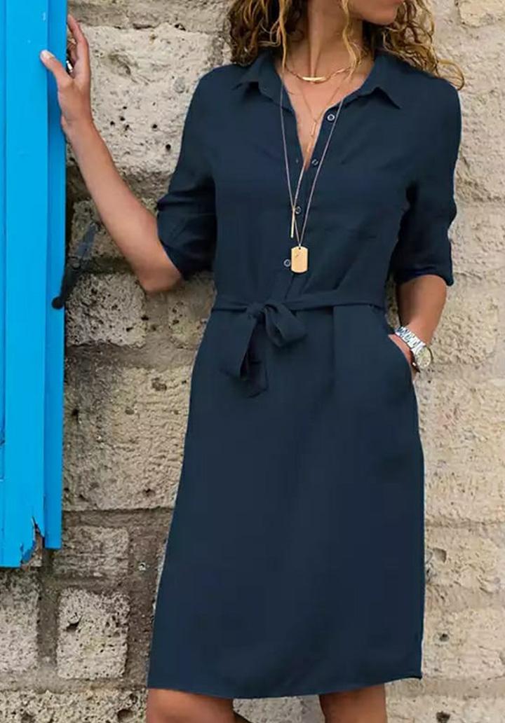 Kuşaklı Düğme Detay Elbise (Lacivert)