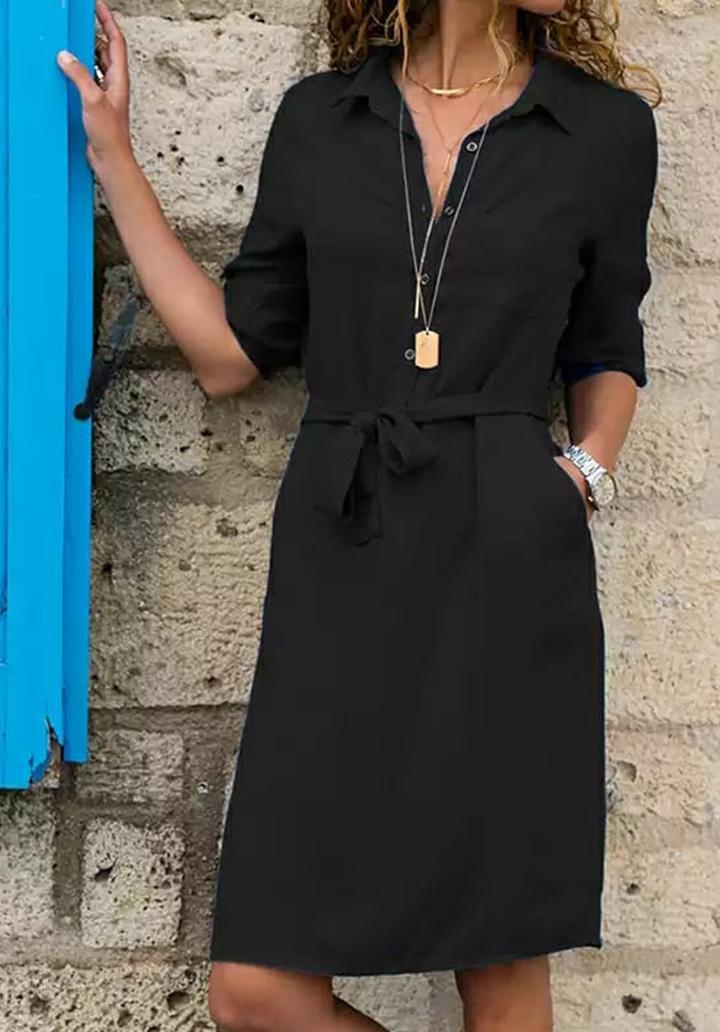 Kuşaklı Düğme Detay Elbise (Siyah)