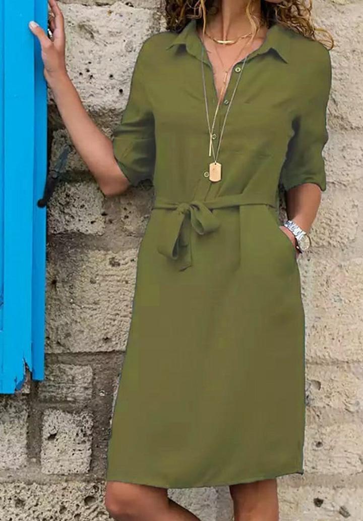 Kuşaklı Düğme Detay Elbise (Yeşil)