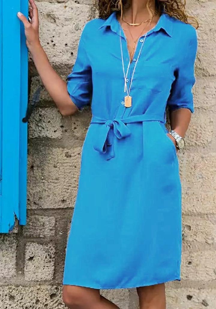 Kuşaklı Düğme Detay Elbise (Mavi)