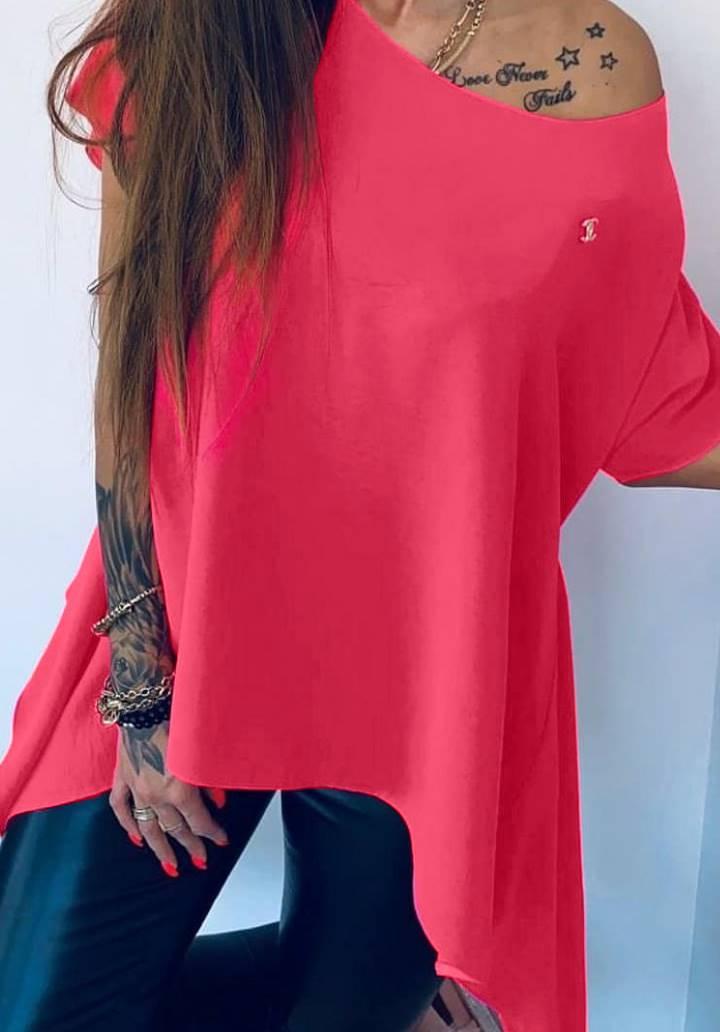 Channel rozetli asimetrik kesim tunik-bluz(pembe)